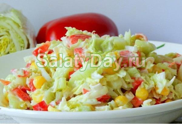 Салат капуста перец крабовые кукуруза