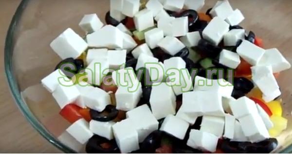Салат «Греческий с мозаикой из перцев с сыром фетакса»