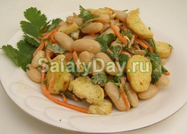 Салат с фасолью и сухариками - очень вкусные и нетривиальные блюда: рецепт с фото и видео