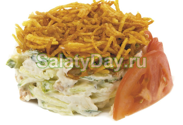 Салат с жареной картошкой соломкой и курицей