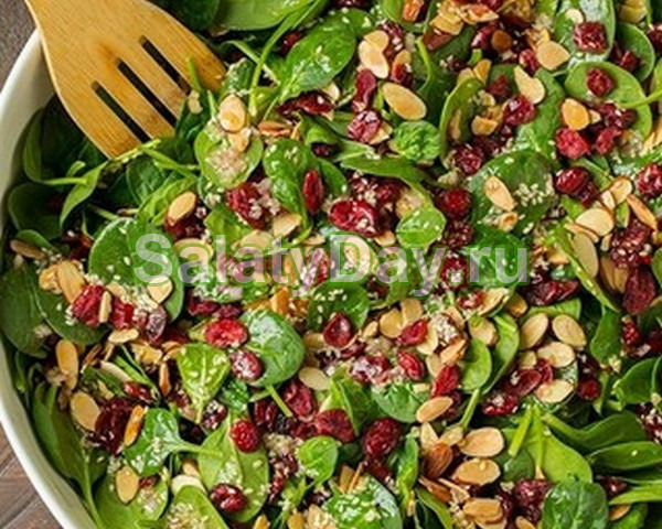Салат со шпинатом и сушеной клюквой: подарите себе дополнительный источник железа!