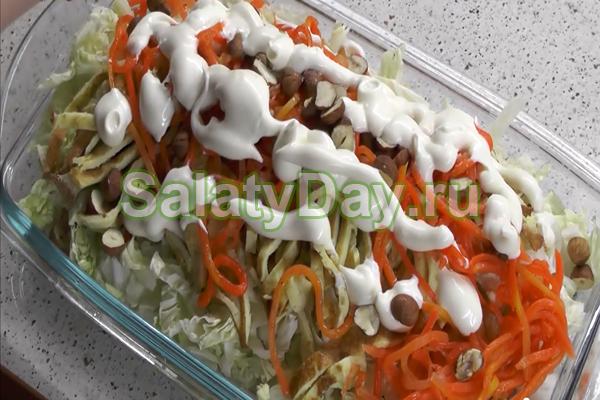 Салат из блинчиков и ветчины