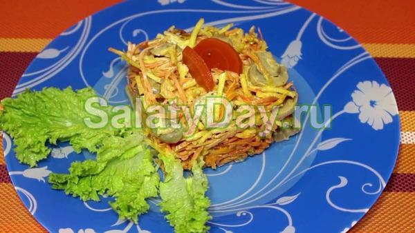 Нежный салат с грибами и корейской морковью