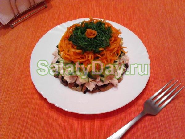 Салат с куриным филе и грибочками