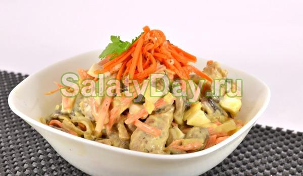 Вкусный салат с мясом и грибами