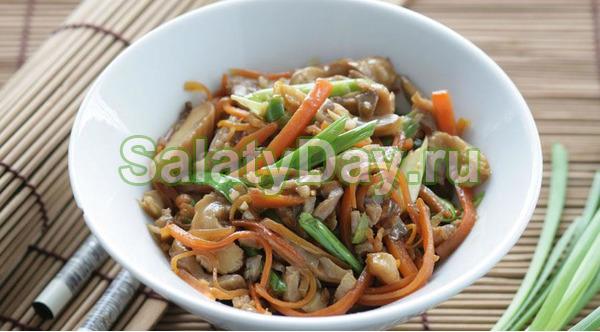 Теплый салат из вешенок с морковью