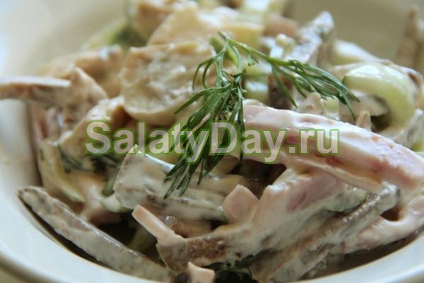 Простой салат с языком