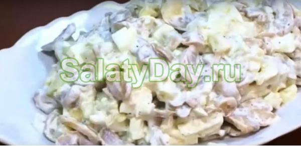 Салат с шампиньонами, огурцами и картофелем
