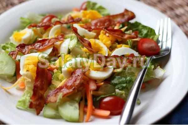 Салат со свежим горошком и беконом - рецепт пошаговый с фото
