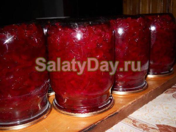 Салат со свеклы и яблок на зиму