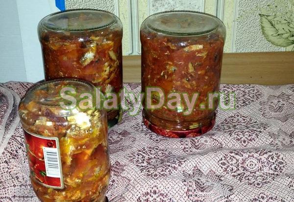 Классический рецепт салата с килькой на зиму