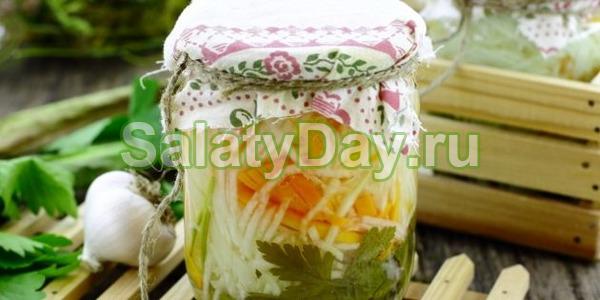 Салат из тыквы и кольраби на зиму