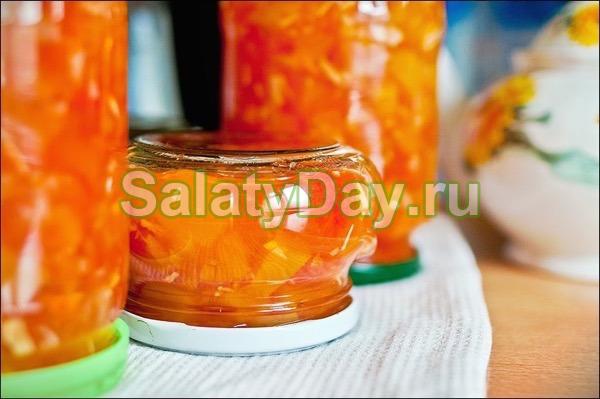 Салат из тыквы в томатном пюре на зиму