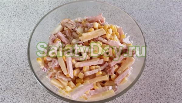 Салат опята с ветчиной