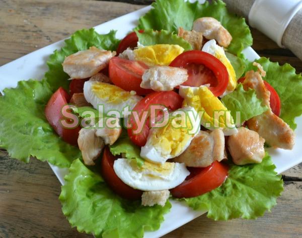 Салат куриный с огурцом и яйцами