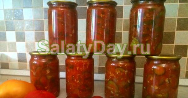 Тушеный салат из помидоров и огурцов