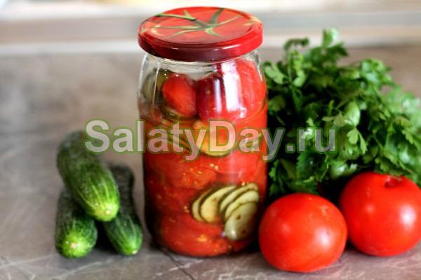 Салат из помидоров и огурцов с водкой