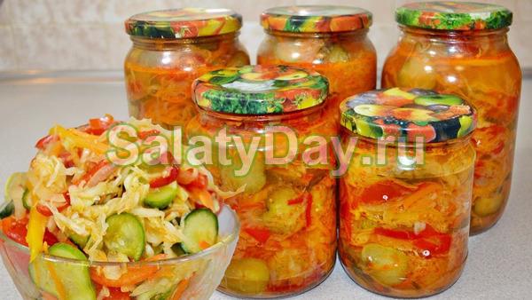 Салат «Осенний» с огурцами, помидорами и капустой