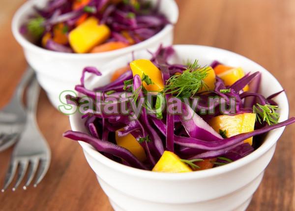 Салат из фиолетовой капусты с грушами
