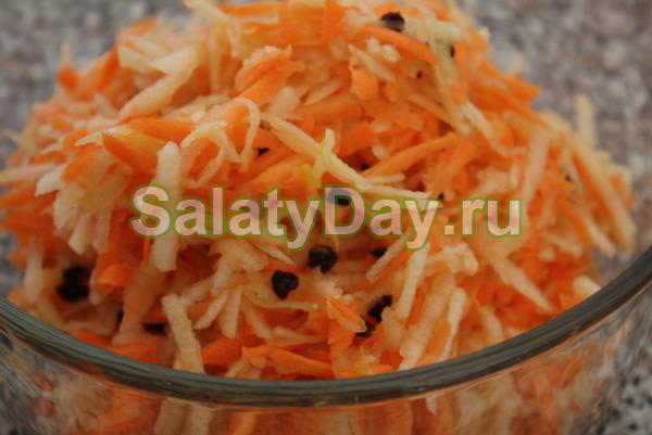 Салат из сырой моркови, мёда и яблок