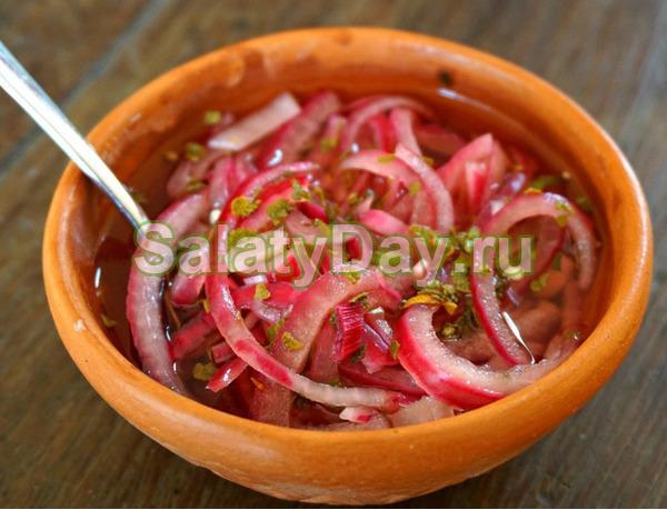 Маринованный красный лук в мексиканском стиле к шашлыку