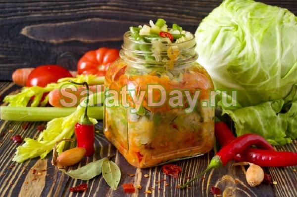 Салат капуста с перцем болгарским на зиму с сельдереем