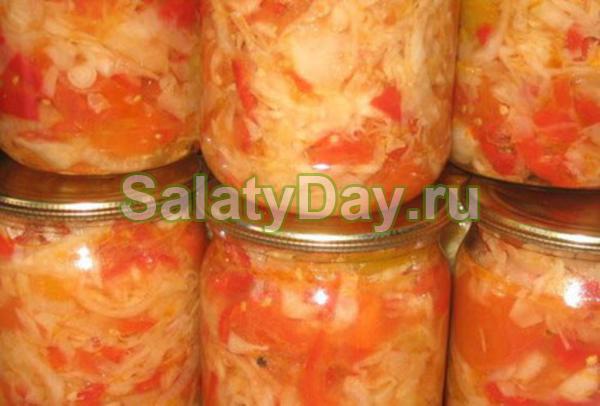 Салат с фасолью и капустой на зиму