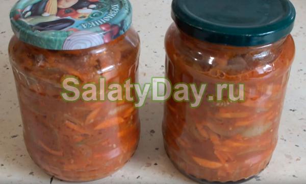 Салат из зелёных помидоров с морковью