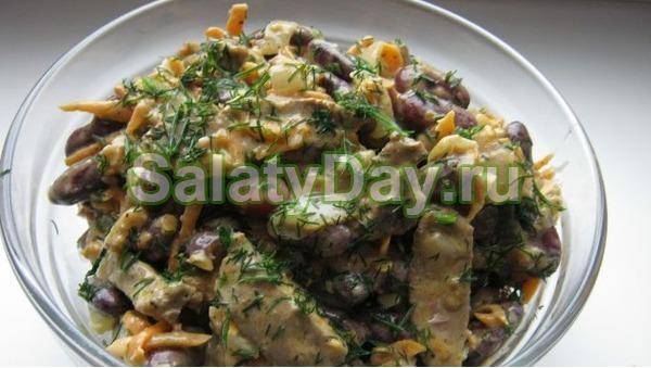 Салат с фасолью консервированной и печенью