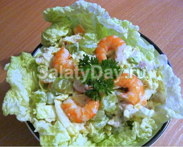 Салат «Жемчужина» с рисом и морской капустой