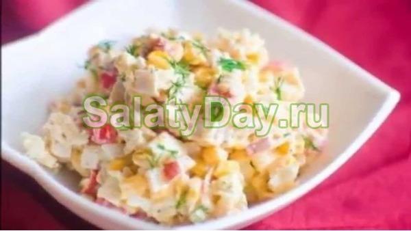 Салат крабовый с кукурузой с рисом и чесноком