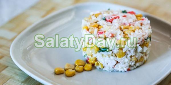Салат крабовый с кукурузой и свежей капустой