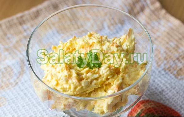 Салат коктейль с ветчиной и сыром «Сытость на салате»