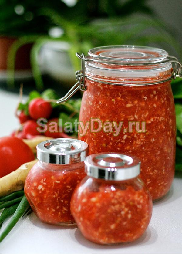 Хреновая закуска на зиму с помидорами