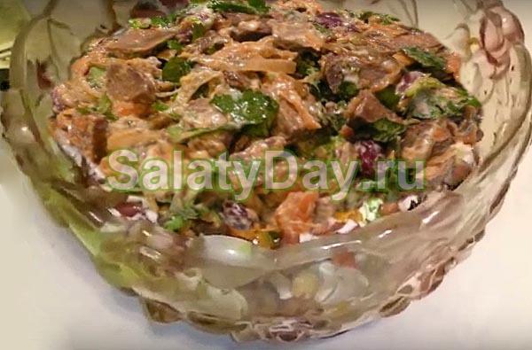 рецепты салатов из говяжьей печени