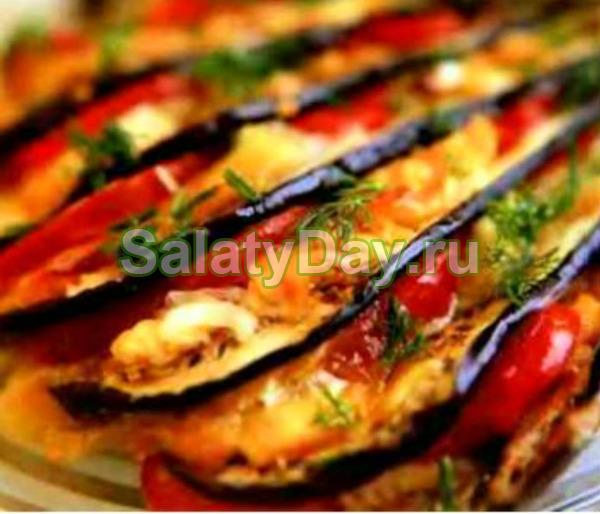 закуска из баклажанов с сыром и чесноком и помидорами