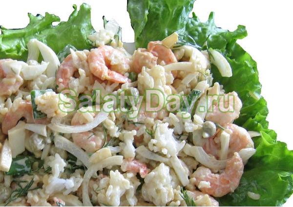 Салат кальмар креветки майонез