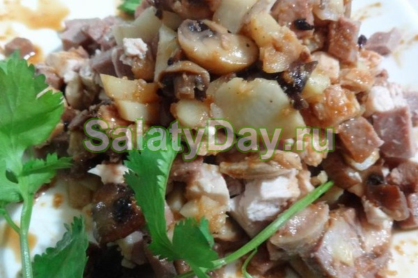 Салат с шампиньонами курицей грецкими орехами рецепт