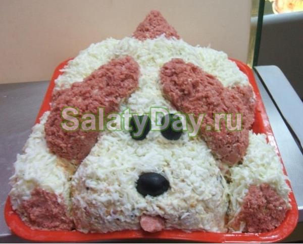 Слоеный салат «Собачка «Дружок» - идеальный вариант для гостей