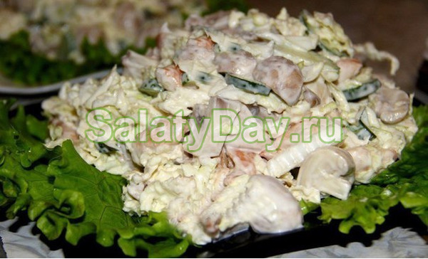 Салат с куриной грудкой и грибами - начнем с классики